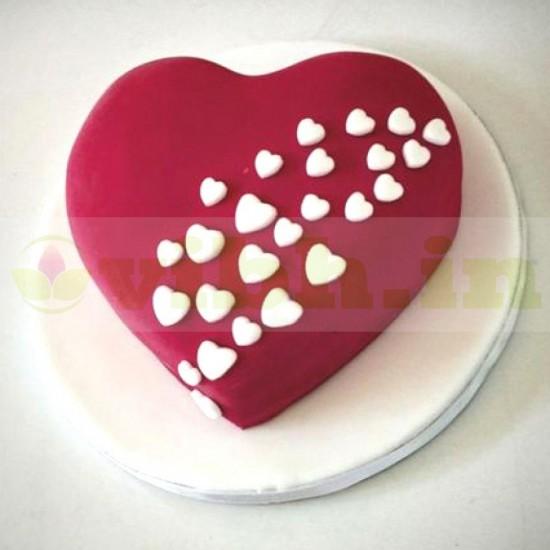 Red Heart Romantic Fondant Cake From VIBH Cake Studio