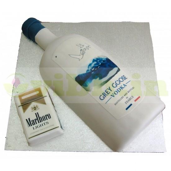 Gray Goose Vodka & Marlboro Cigarette Designer Cake From VIBH Cake Studio