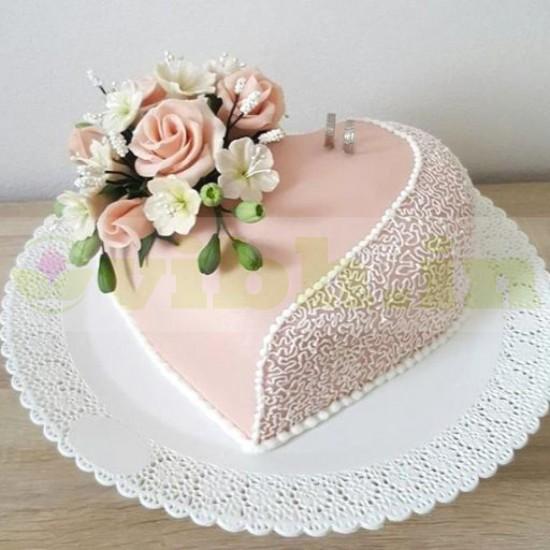 Heart Shaped Engagement Fondant Cake From VIBH Cake Studio
