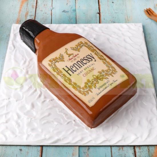 Hennessy Brandy Bottle Fondant Cake From VIBH Cake Studio