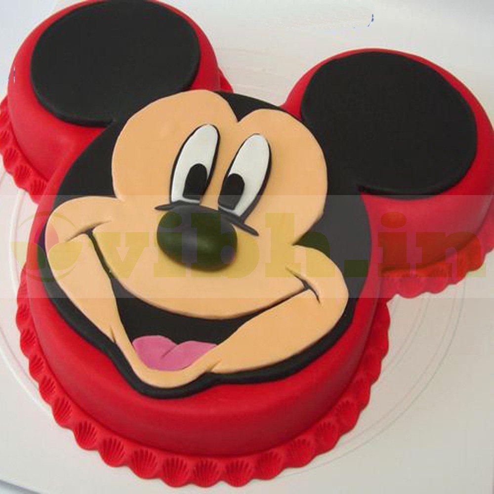 Fine Send Mickey Mouse Face Cool Fondant Cake Online Vibh Cake Studio Funny Birthday Cards Online Alyptdamsfinfo