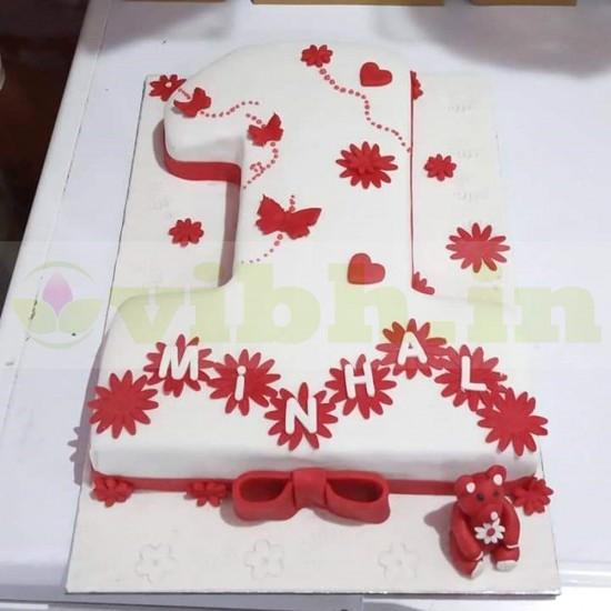 One Number Shape Fondant Cake From VIBH Cake Studio