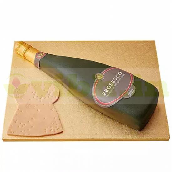 Prosecco Wine Bottle Fondant Cake From VIBH Cake Studio