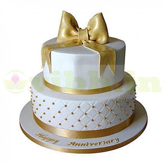 50th Anniversary 2 Tier Fondant Cake From VIBH Cake Studio