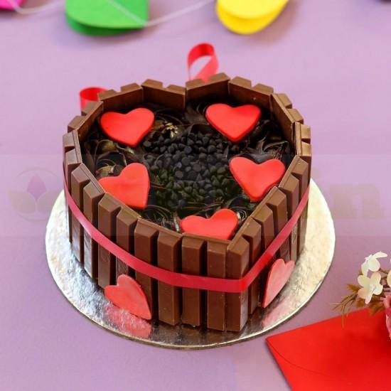 Heart Shaped KitKat Cake From VIBH Cake Studio